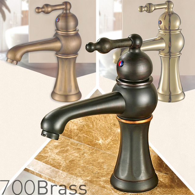Classic Victoria Bathroom Faucet, Low Arc, Solid Brass, Antique Brass , Polished  Gold