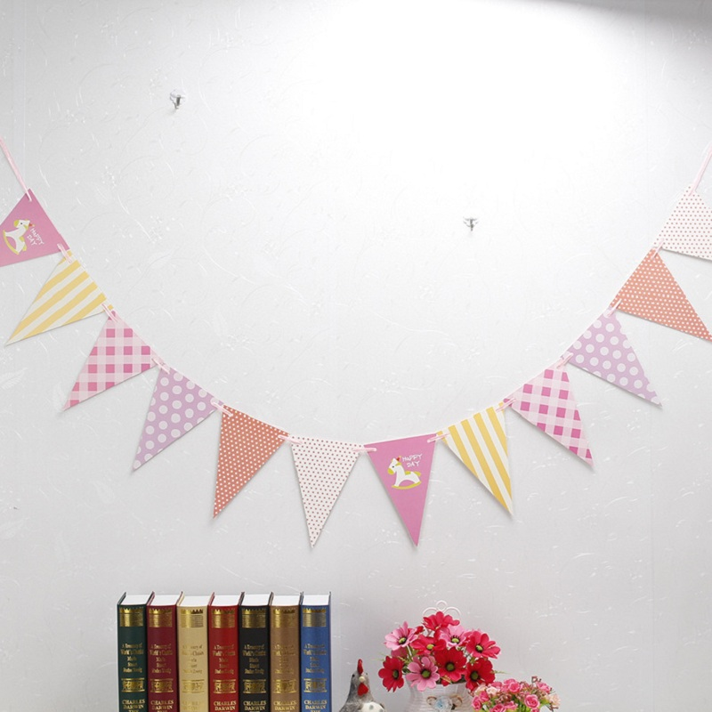 3M Colorful Paper Pennant Flags Garland Floral Bunting Banners Baby Shower Kids first Birthday Wedding Party Decoration Supplies