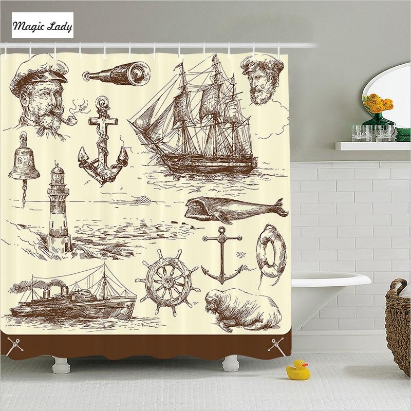 excellent nautical bathroom accessories | Shower Curtain Nautical Bathroom Accessories Marine ...