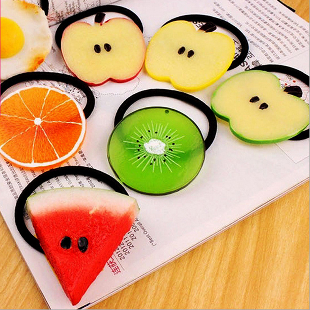 Fruit Slice Multi-Patterns Hair Accessories Girl Women Elastic Hair Band Rubber Bands Headwear Tie Gum Holder Rope Scrunchy halloween party zombie skull skeleton hand bone claw hairpin punk hair clip for women girl hair accessories headwear 1 pcs