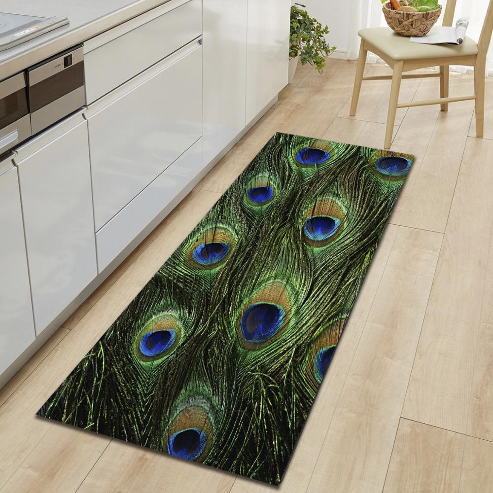 Nodic Peacock Print  Long Kitchen Carpet Modern Anti-slip Entrance Floor Mat Rectangle Washable Rug Outdoor Corridor Home Decor