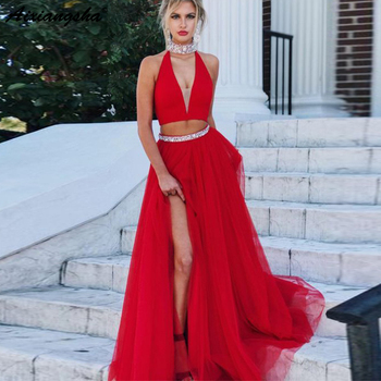 Red Long Evening Dresses with Beading Crystal A Line Halter V Neck Tulle Sexy Slit Two Piece Prom Dress vestidos de fiesta
