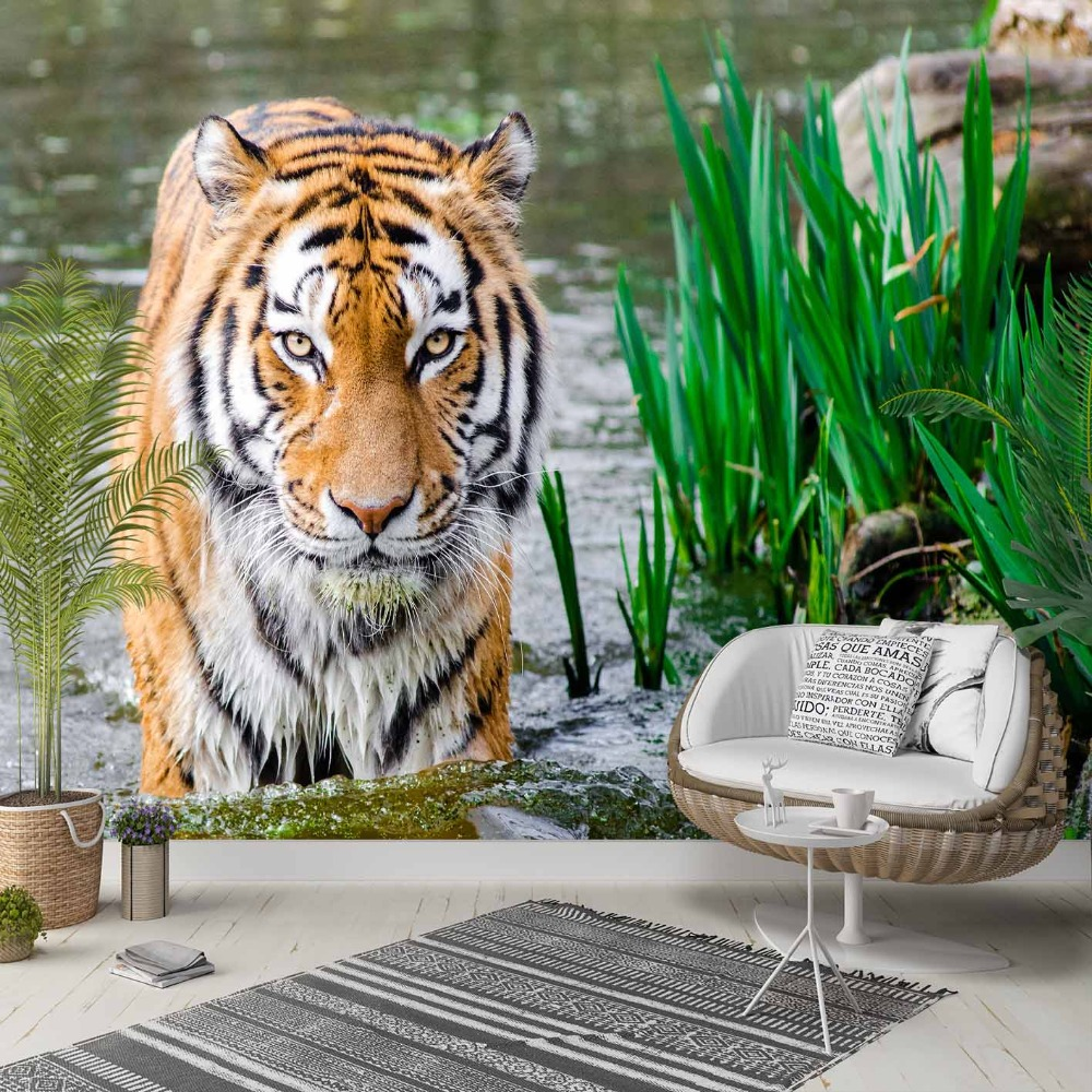 Else Blue River Brown Black Lines Wild Tiger 3d Photo Cleanable Fabric Mural Home Decor Living Room Bedroom Background Wallpaper