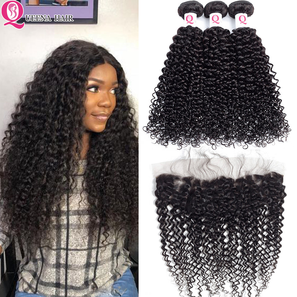Kinky Curly Hair Bundles With Frontal Closure Remy Malaysian Human Hair Bundles And Closure 13X4 Lace Front With Bundles Queena