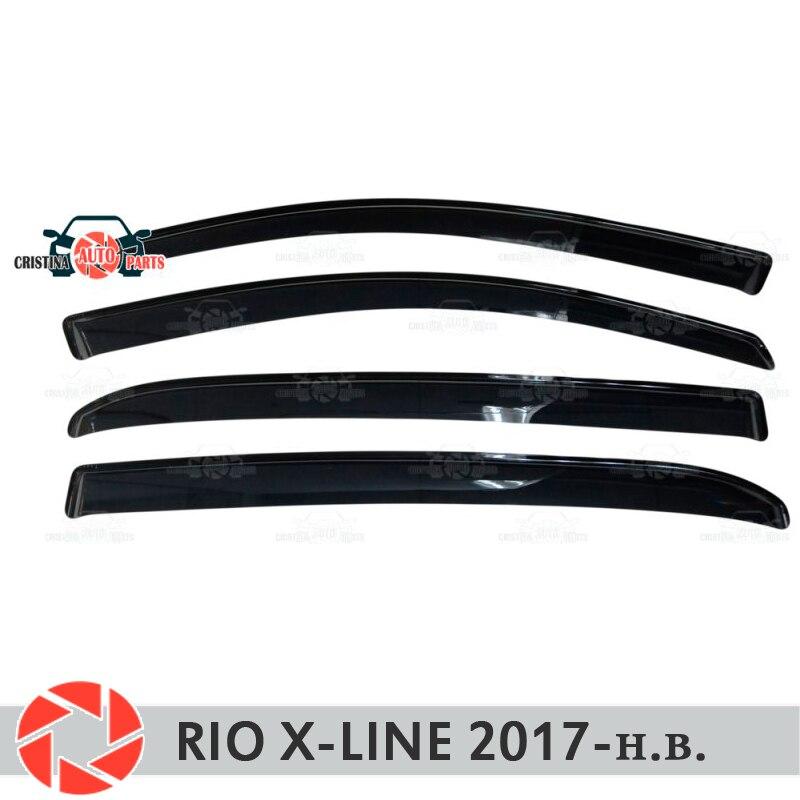 Defletores janela para Kia Rio-Line X 2017-chuva deflector sujeira proteção styling acessórios de decoração do carro de moldagem