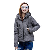 2018 New Parkas Winter Women Down Cotton Coat Hooded Thick Striped Warm Female Padded Jacket Quality Femme Outerwear LQ105