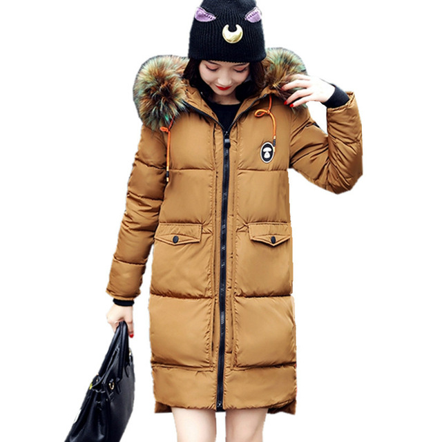 New Winter Jacket Women Coat Warm Slim Thick Long Parkas Good Quality Color Fur Collar Hooded