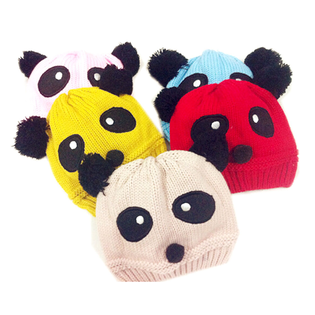 Fashion Winter Knitted Animal Panda Baby Hat Girls Boys Wool Panda Cap Children Beanie Hat Toddlers Knit Crochet Warm Hat new fashion autumn winter children hat cartoon cat tassel baby beanie hat kids wool cap head cap boys and girls warm thicken hat