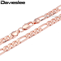 6mm Wide FLAT FIGARO Necklace Chain 18k Rose Gold Filled Necklace Mens Womens Chain Necklace Wholesale