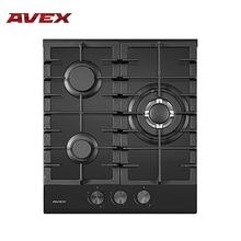 Встраиваемая панель с газконтролем, с чугунными решетками AVEX HM 4534 B, ширина 45 см, 3 газовых конфорки, WOK конфорка, автоматический электро-поджиг, поверхность - черное закаленное стекло