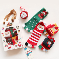 Christmas Men and Women Funny Stockings Santa Claus Bears Snowman Printed Novelty Five Toe Cotton Couple Stockings Gifts