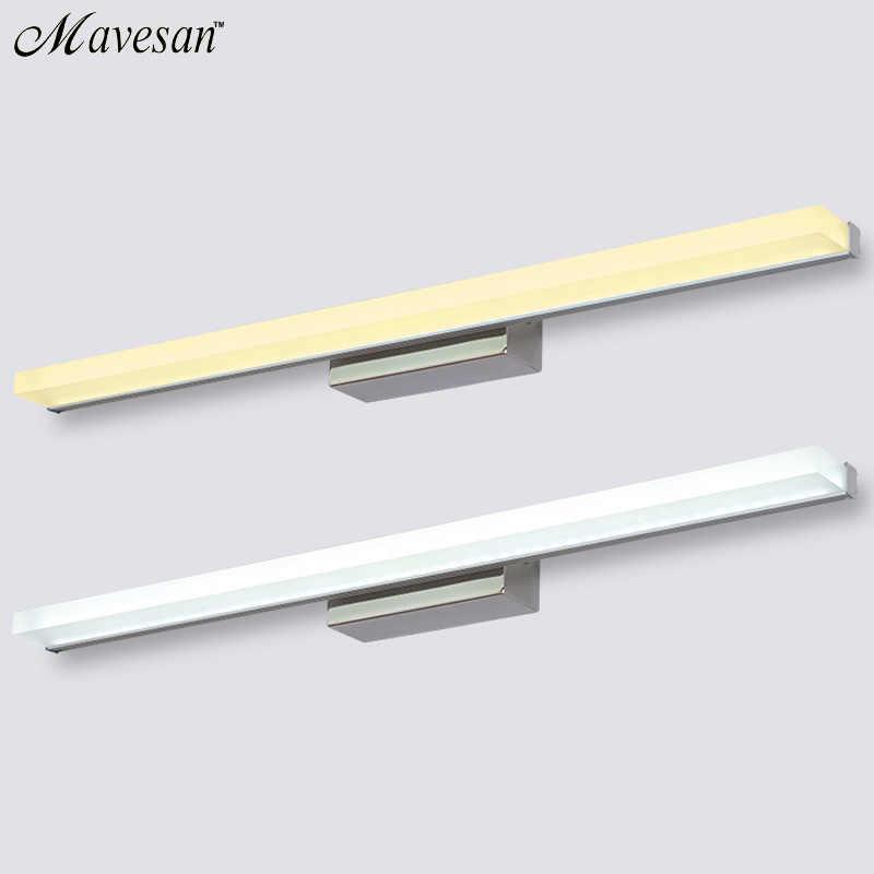 Современный зеркальный светодиодный настенный светильник для ванной макияж 40 см ~ 100 см Настенный бра лампе деко из нержавеющей стали бра светло-черный и серебристый