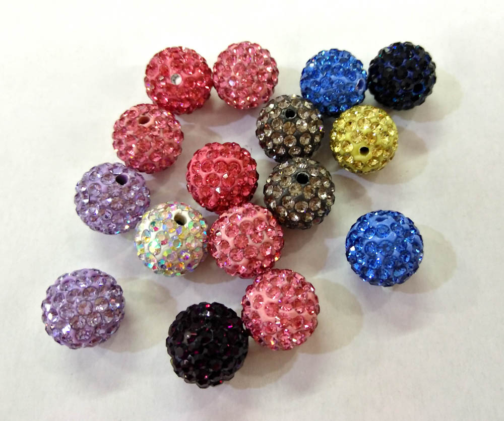 High Quality 50pcs Rhinestone Pave Bead Caps 6 8 10 12mm, Maroon Rose Pink Violet Crystal Micro Paved Round Clay Beads Non-Ironing