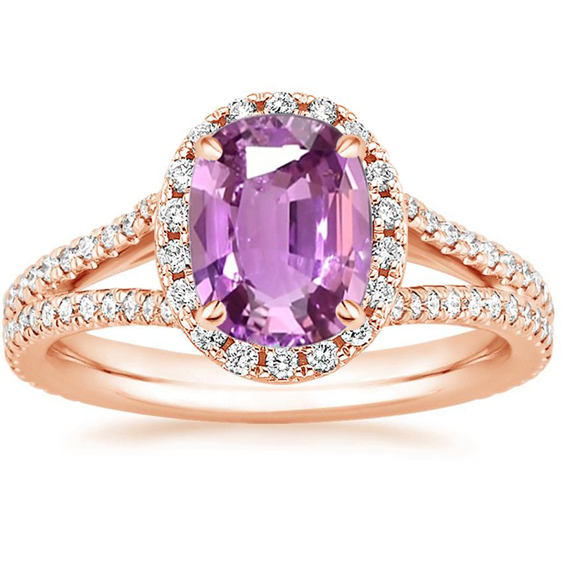 ANI 18K Rose Gold (AU750) Women Wedding Ring Certified Natural Pink Sapphire Pear/Oval/Rectangle Shape Engagement Diamond Ring ani 18k rose gold au750 women wedding diamond ring certified round natural pink sapphire flower shape engagement gemstone ring