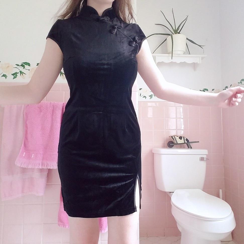 Summer Velvet Dress Women Dress Chinese Cheongsam Harajuku Sexy Dress Tight Dress Gothic Punk Black Pink Vestidos photo review