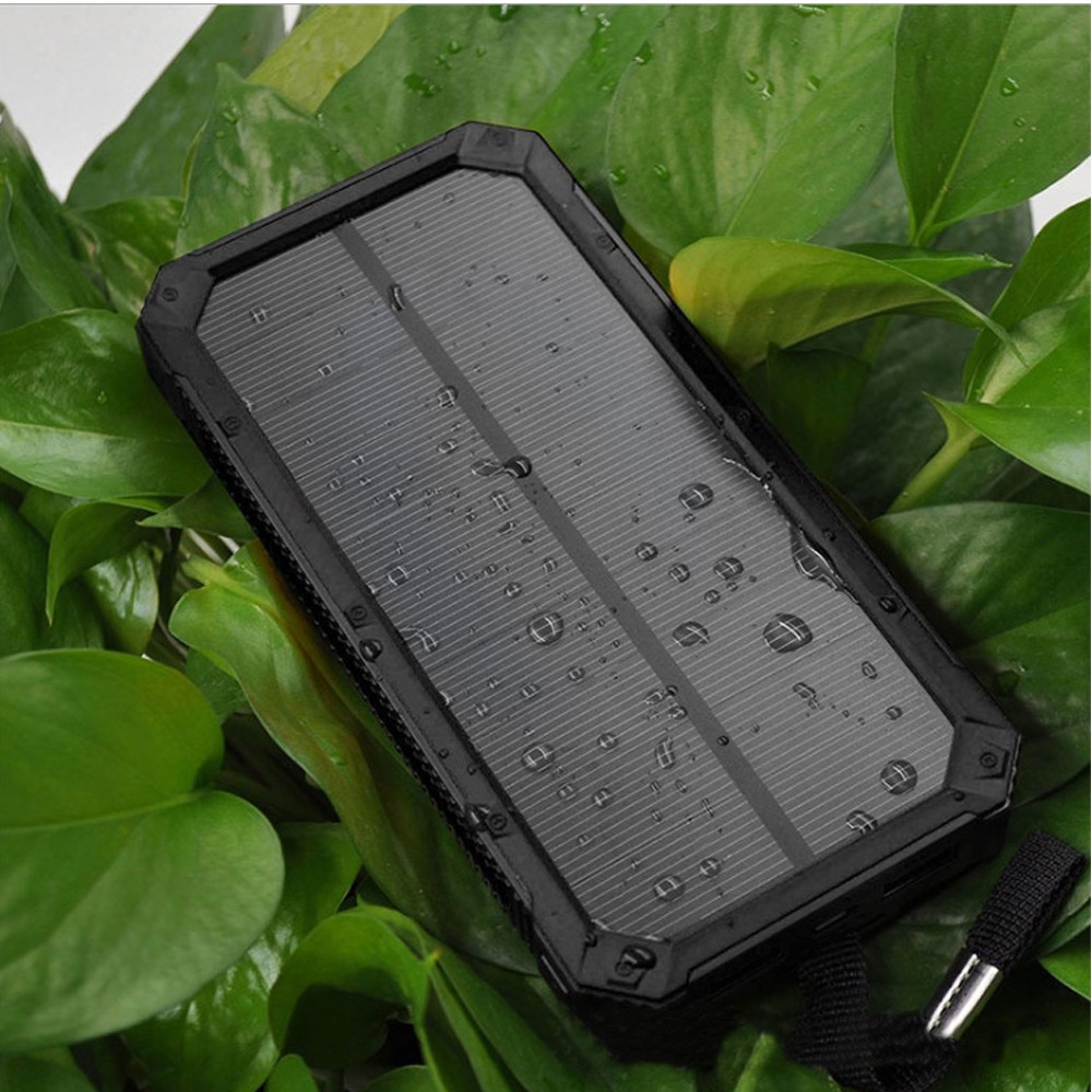 Solar Power Bank 20000mAh External Backup Battery Charger Dual USB Led Power Bank for Mobile Phone