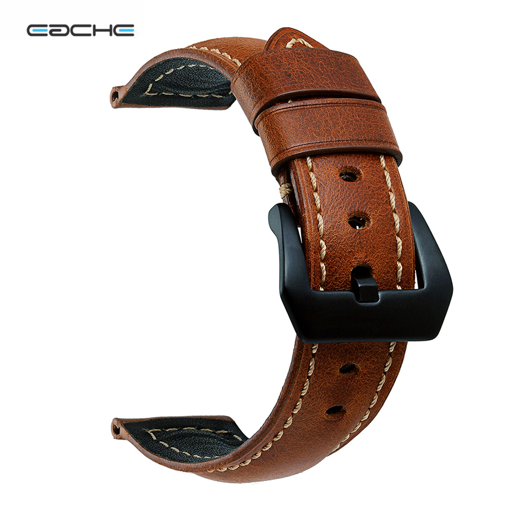 EACHE Classical Genuine oil leather men Watchband Handmade Watch band 22mm 24mm 26mm Black&Silver Buckle watch accessories eache 20mm 22mm 24mm 26mm genuine leather watch band crazy horse leather strap for p watch hand made with black buckles
