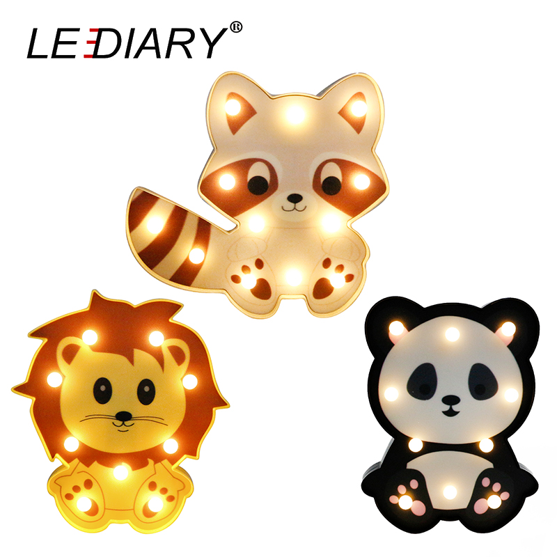 LEDIARY 3D Colorful Animal LED Night Lights Cute Panda Lion Raccoon Shape Bedside Table Lamp For Kids Toy Children's Day Gift lediary cute dinosaur led night light 3 colors decoration lamp warm white christmas night lights animal bedside lamp for kids
