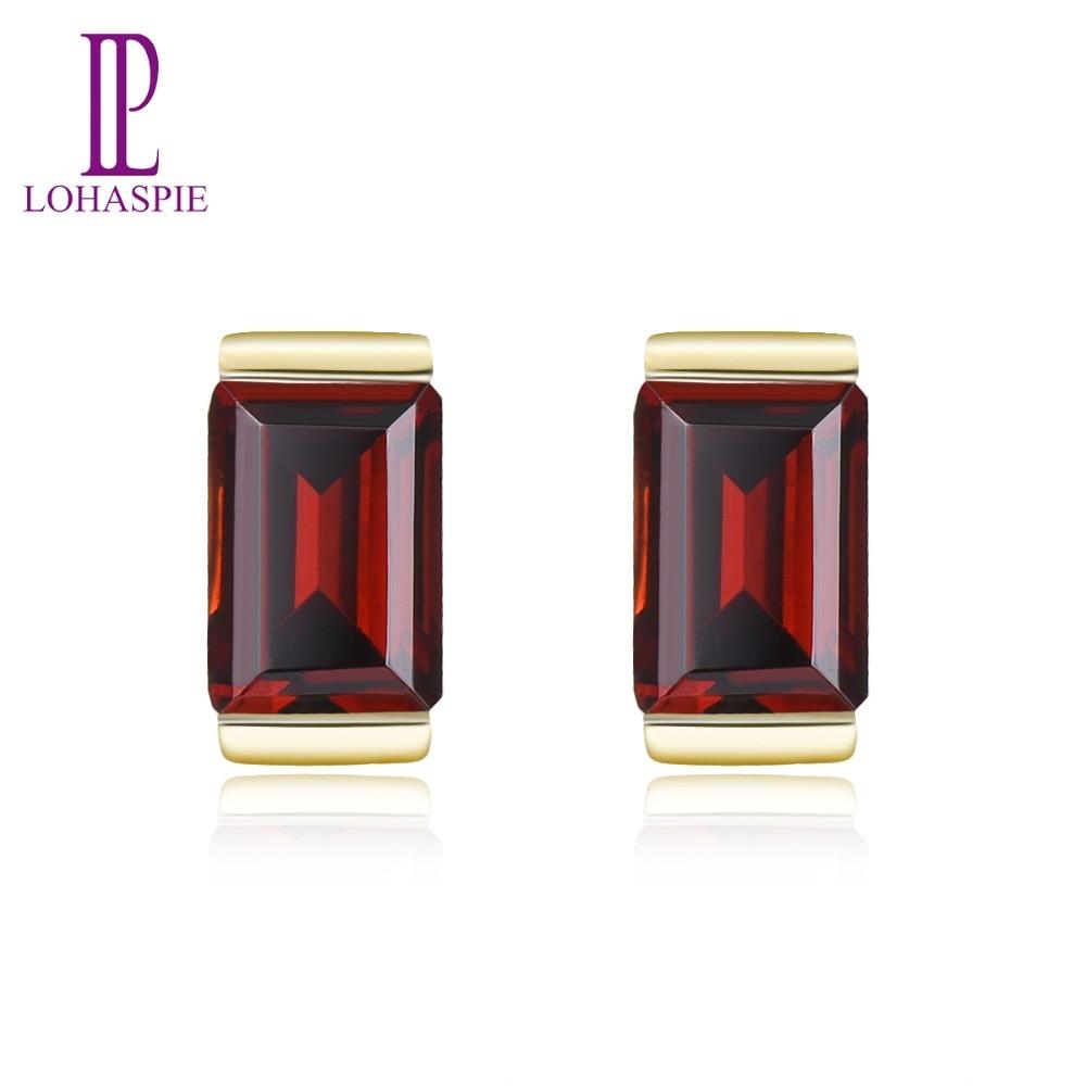 LP 100% Natural 9K Yellow Gold Red Garnet Earrings for Women Wedding Engagement Gemstone Earrings Fine Jewelry Valentine's Gift