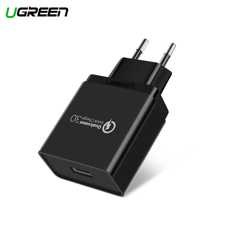 Ugreen USB Charger 18W Quick Charge 3.0 Mobile Phone Charger 20908 for iPhone Fast QC 3.0 Charger for Huawei Samsung Galaxy portable battery mobile charger converter adapter for iphone samsung more green 4 x aa
