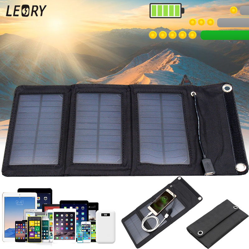 LEORY 5W 5V Solar Panel Charger Monocrystalline Portable Solar Cell For Cellphone Power Bank Outdoor DIY USB Battery Charger 4 5w 30000mah foldable dual usb solar panel power bank portable outdoor travel battery charger supply for phones