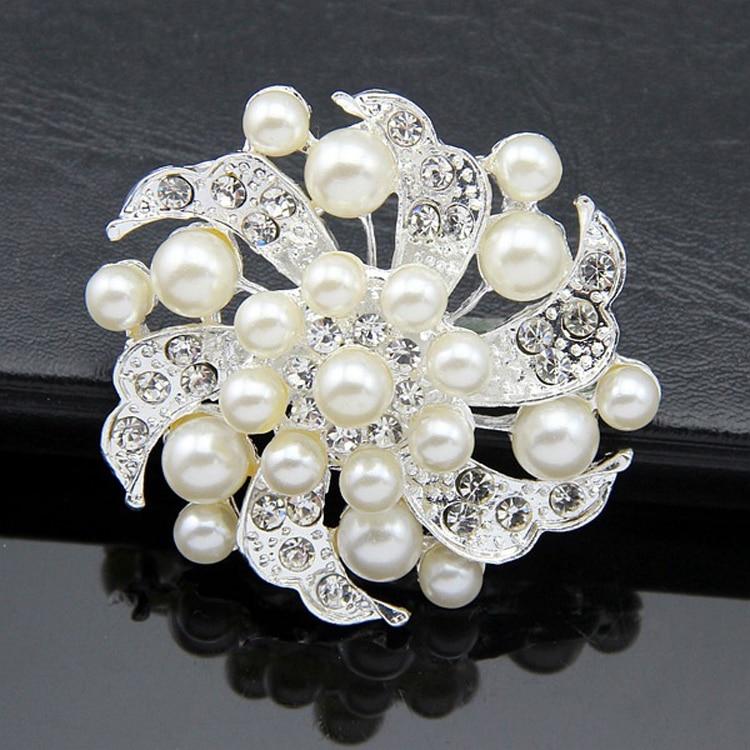 Best Deal New Women Fashion font b Crystal b font Rhinestone Scarf Buckle Imitation Pearl Brooch