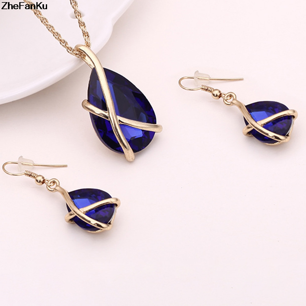 Luxury Wedding Jewelry Sets Gold Chain Colorful Crystal Water Drop Necklaces & Pendants and Dangle Earrings Schmuck Accesories 1