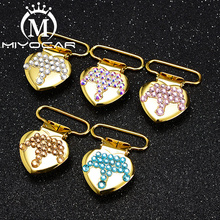 MIYOCAR 10pcs/lot bling colorful crown heart shape gold sliver pacifier clip dummy holder good quality SP029
