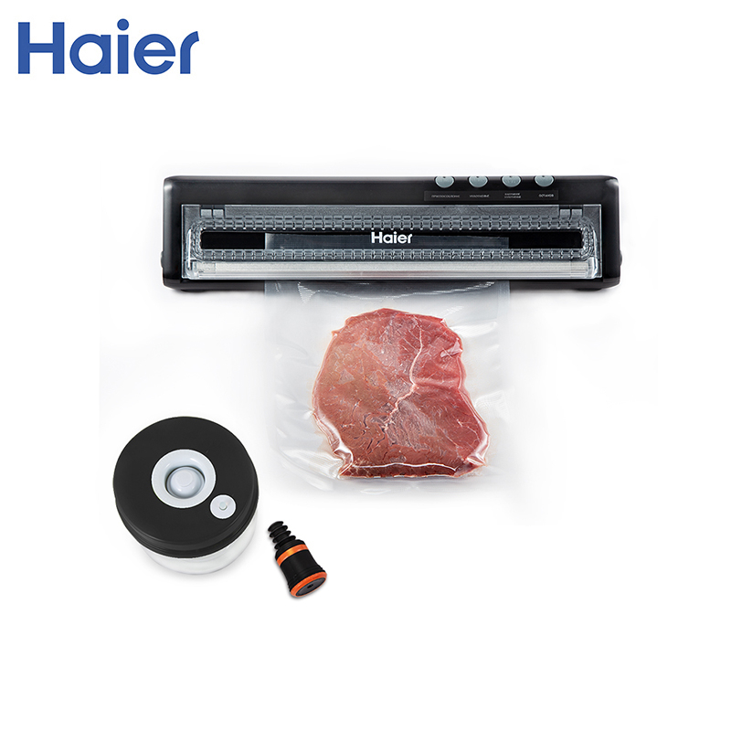 Vacuum food sealers Haier HVS-118 black shineye household food vacuum sealer packaging machine automatic electric film food sealer vacuum packer including 10pcs bags