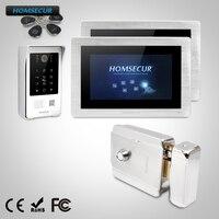 HOMSECUR 7 Свободные Руки Видео и Аудио Смарт Дверной Звонок с Монитором Памяти и Электрический Замок + Ключи в Комплекте