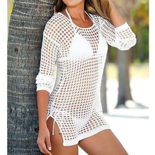 2019 Sheer See Through Sexy Knitted Crochet Tunic Beach Cover Up Cover-ups Beach Dress Beach Wear Beachwear Female Women V96