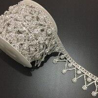5Yards Sewing On Crystal Rhinestone Trim Applique Tassel Fringe Crystal DIY Wedding Evening Dress