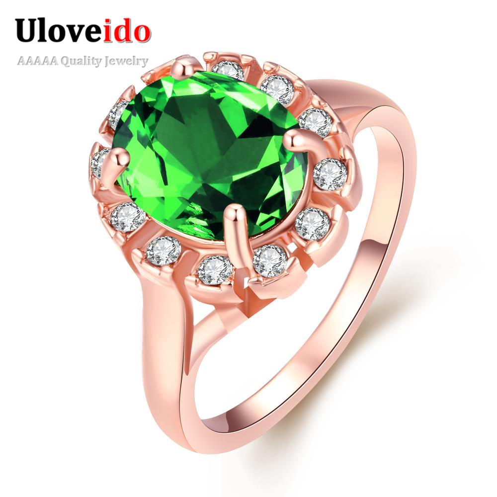 21ab709bec6ac US $3.46 25% OFF|Uloveido Engagement Rings for Women Green/Blue/Black/Red  Big Cubic Zirconia Women's Cocktail Ring Fashion Rose Gold Color KR014-in  ...