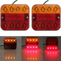 Pair 10 30V Trailer Truck 8 LED Taillight Turn Signal Brake Stop Light Lamp