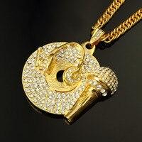 Punk Rapper Iced Out Necklace Gold Tone Pave Zircon Disco Microphone Pendant Necklace Men Hip Hop