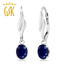 GemStoneKing 2.04 Ct Oval Natural Blue Sapphire Fine Jewelry 925 Sterling Silver Earrings For Women