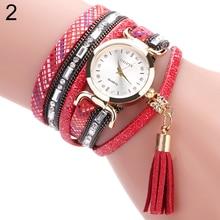 2017 Watches Women's Casual Multilayer Tassels Pendant Rhinestone Bracelet Wrist Watch