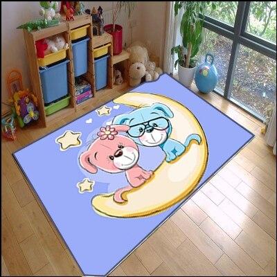 Else Yellow Star On Pink Blue Dogs Kids Modern 3d Print Non Slip Microfiber Children Kids Room Decorative Area Rug Mat