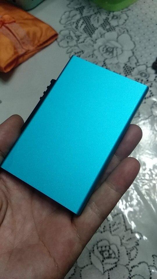 Cizicoco aluminium portemonnee Pocket ID kaarthouder Rfid blokkeren Mini slanke metalen portemonnee Automatisch pop-up creditcard Case beschermer photo review