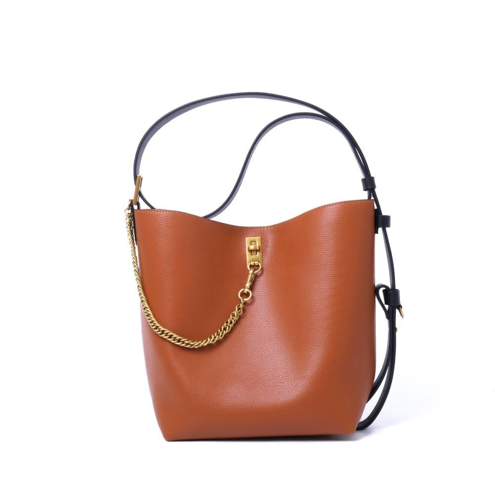 Luxury Designer Inspired Handbag Women Genuine Leather Bucket Bag New Designer Shoulder Bag 2018 luxury designer genuine leather pearl studded padlock bag women shoulder bag