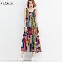 New ZANZEA Women Summer O Neck Sleeveless Beach Dress Casual Loose Floral Print Party Splice Kaftan
