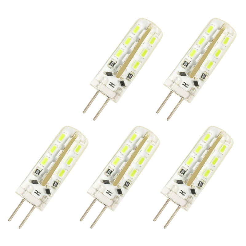 5 Pcs/lot G4 DC12V 2W LED Bulb 24leds SMD 3014 Led Corn Lamp For Crystal Lamp LED Spotlight Bulbs Warm/Cold White
