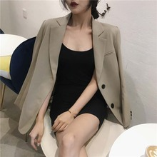 NiceMix 2019 Spring Autumn Loose Joker lapel suit jacket autumn and winter temperament long two-button sleeve coat for wome