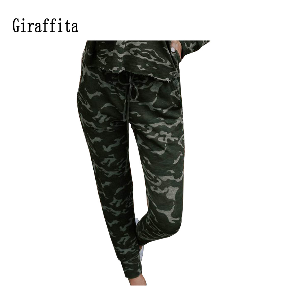 2018 New Women Sport Pants Sweatpant Camouflage Jogger Pant Loose Long Pant With Pocket Drawstring Trousers