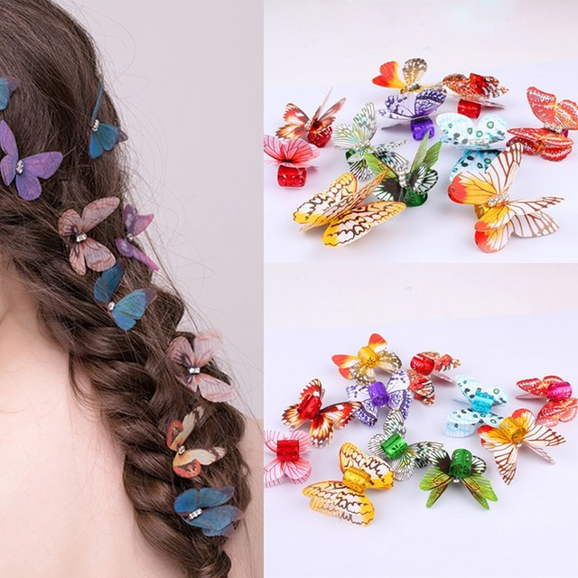 10pcs butterfly hair braid dreadlock colorful adjustable