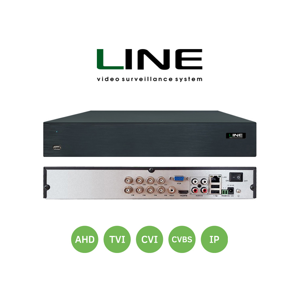 Line XVR 8 channels Network Video Recorder Ahd Dvr 8Mp Smart Onvif 2 Sata 8ch Nvr For Video Surveillance System Hvr