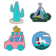 Retro Travel Cars with Duck Tent Cactus Lapel Pin Enamel Brooch Denim Badge Funny Camping Pin for Women Girl Kids(China)