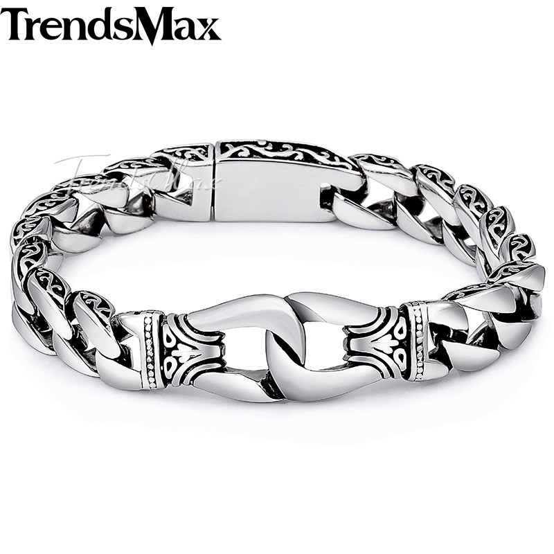 Trendsmax Men's Bracelet 316L Stainless Steel Wristband Biker Jewelry Vintage Totem Curved Edging Curb Cuban Link Chain HB10