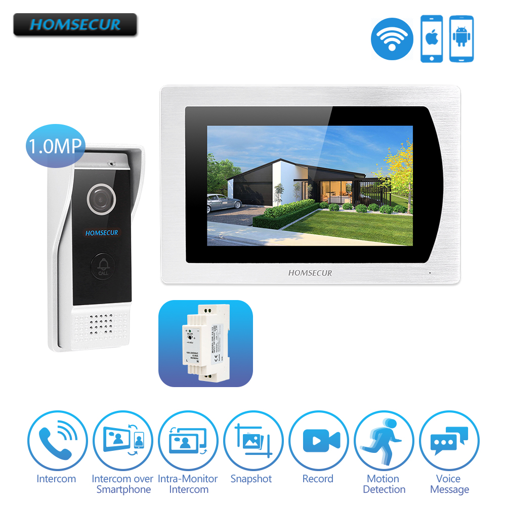 HOMSECUR Hands-free IP RJ-45 Wired Video Door Phone Intercom System With With Recording & Snapshot For Home Security