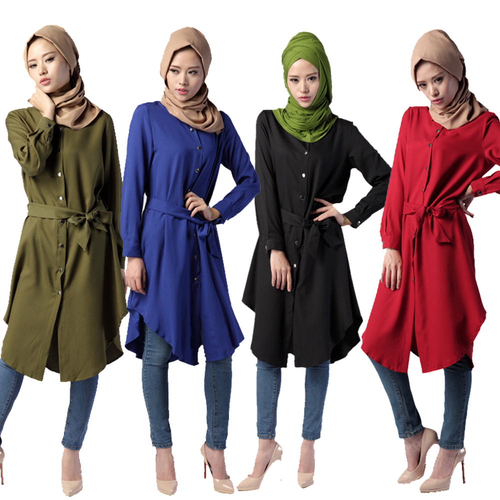 Bubble Tea 2017 New Women Muslim långärmad tröja Islamic Abaya Malaysia Loose Cocktail Klänningar Amira Shirt Dress 4 Color Hot